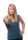 Middle finger woman pretty giving gesture Stock Photos