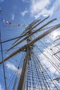 The middle mast with the six sails of tall ship Cisne Branco in the harbour of Scheveningen during the Sail on Scheveningen, Nethe Royalty Free Stock Photo
