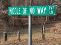 Middle of no way sign a road in culpeper county virginia Royalty Free Stock Image