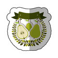 Middle shadow sticker colorful with olive crown with pears set Royalty Free Stock Photo