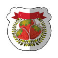 Middle shadow sticker colorful with olive crown with strawberrys set Royalty Free Stock Photo