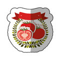 Middle shadow sticker colorful with olive crown with tomatos set Royalty Free Stock Photo