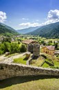 Middleages castel on top of the mountain bottom view ruin castle in ossana italy Royalty Free Stock Photos