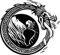 Midgard serpent and earth woodcut style image of the viking norse circling the Royalty Free Stock Photos