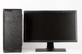 Midi tower computer case with led monitor on white background. Royalty Free Stock Photo