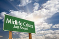 Midlife Crises Just Ahead Green Road Sign and Clouds Royalty Free Stock Photo