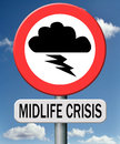 Midlife crisis mental depression middle age and living second youth Royalty Free Stock Image