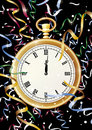 Midnight celebration multi clock just striking with streamers Royalty Free Stock Images