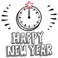 Midnight clock New Year's Eve sketch Royalty Free Stock Images