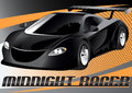 Midnight racer vector illustration of a black sports car on an abstract background Stock Photos