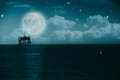 Midnight on the sea environmental backgrounds Royalty Free Stock Photography