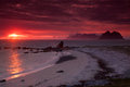 Midnight sun on Lofoten Royalty Free Stock Photos
