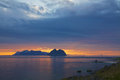 Midnight sun in scandinavia scenic cloudscape with over the lofoten islands norway summer Stock Photography