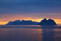 Midnight sun scenic lofoten islands in norway lit by during polar day Royalty Free Stock Image