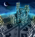 Midnight top view scene over modern business city Royalty Free Stock Images
