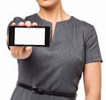 Midsection della donna di affari showing smart phone Immagine Stock Libera da Diritti