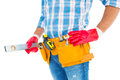 Midsection of handyman holding spirit level Royalty Free Stock Photo