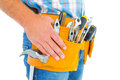 Midsection of handyman wearing tool belt Royalty Free Stock Photo