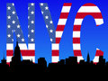 Midtown Manhattan with flag Royalty Free Stock Photo