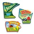 Midwest United States Minnesota Wisconsin Iowa illustrations designs