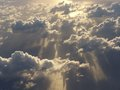 Mighty pacific sunset from airplane over ocean Royalty Free Stock Image