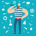 Mighty sailor with spyglass Royalty Free Stock Photo