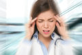 Migraine and headache people doctor stressed woman nurse with overworked health care Stock Photos