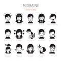 Migraine Symptoms Icons Set, Monochrome