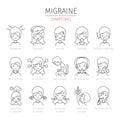 Migraine Symptoms Outline Icons Set