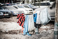 Migrant workers washing line, Abu Dhabi Royalty Free Stock Photo