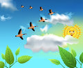 Migrating birds flying on the sky vector landscape with Royalty Free Stock Photos