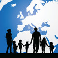 migration family with children and map in background illustration Royalty Free Stock Photo