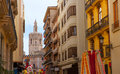Miguelete micalet in valencia in fallas view from navellos street spain Royalty Free Stock Image