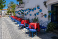 MIJAS, ANDALUCIA/SPAIN - JULY 3 : Typical Street Cafe in Mijas Royalty Free Stock Photo