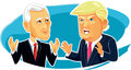 Mike Pence and Donald Trump Vector Caricature