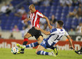 Mikel rico of bilbao l athletic vies with david lopez r rcd espanyol during a spanish league match between rcd espanyol vs Stock Photo