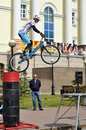 Mikhail sukhanov – the champion of russia on a cycle trial acts in tyumen on a holiday the city day г Stock Image