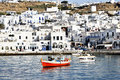 Mikonos Harbor Stock Image