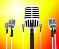 Mikrofon musical zeigt musik gruppen lieder oder gesang schläge Lizenzfreies Stockfoto