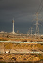 Milad Tower and Power Transmission Lines of Tehran Royalty Free Stock Photo