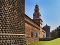 Milan castle left side italy lombardy capital roman city sforzesco view of powerful stone walls towers gates and bridges sunny Stock Photography