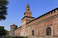 Milan castle right day italy sforzesco ancient walls towers and gate side view sunny Stock Photos