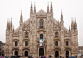 Milan cathedral italy in rainy day Royalty Free Stock Images