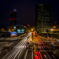Milan city night light Royalty Free Stock Photo