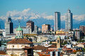 Milan cityscape aerial view of with alps mountains in the background Royalty Free Stock Image