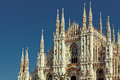 Milan duomo cathedral view of facade of the in during sunny day Royalty Free Stock Images