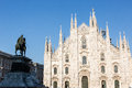 Milan duomo a view of with vittorio emanuele ii bronze statue Stock Photography