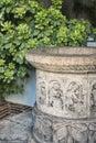 Milan Italy: historiated vase in via Francesco Ferrucci