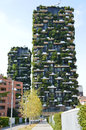 MILAN, ITALY - JULY 19, 2017: Bosco Verticale, vertical forest apartment buildings in the Porta Nuova area of the city of Milan, I Royalty Free Stock Photo