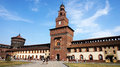 MILAN, ITALY - JULY 19, 2017: Sforza Castle Castello Sforzesco is a castle in Milan, Italy. It was built in the 15th century by Royalty Free Stock Photo